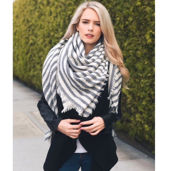 6cac5406fc2 Navy Stripe Cozy Soft Knit Square Blanket Scarf